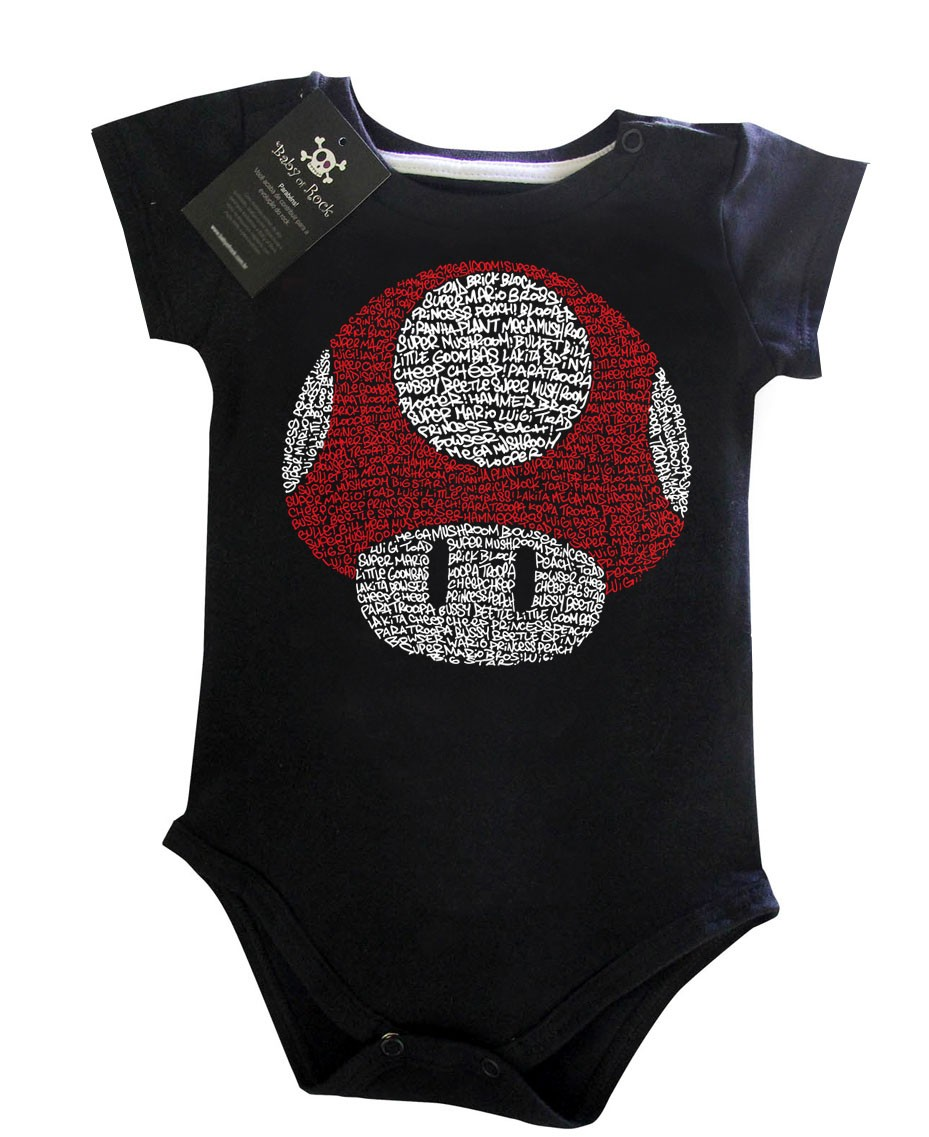 Body Bebe divertido Nerd Geek -  Mario Cogumelo - Black  - Baby Monster S/A