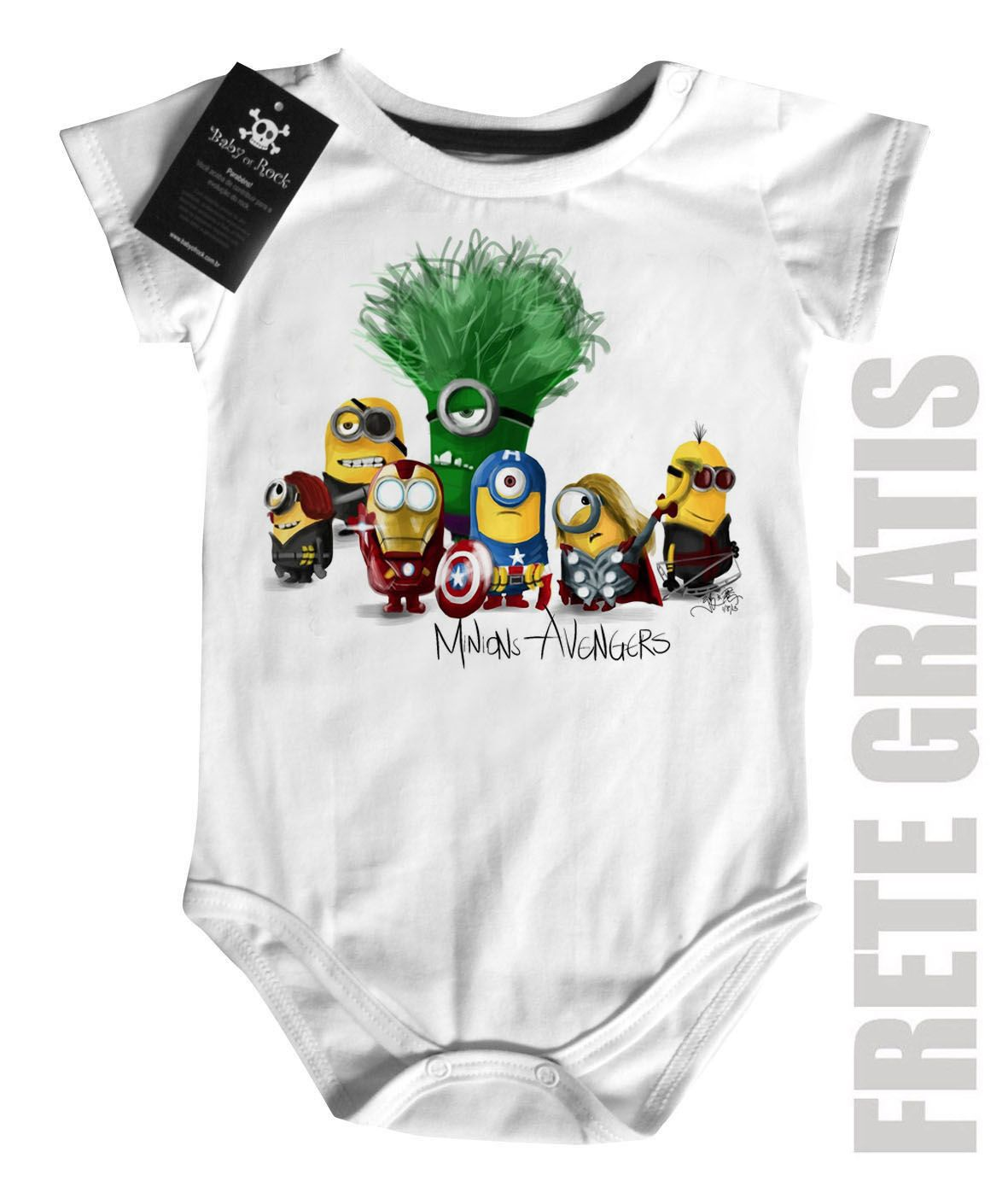Body Bebe   os Vingadores Minions  - White  - Baby Monster - Body Bebe