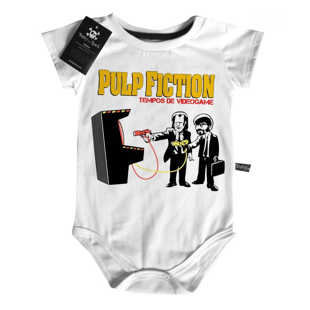Body Bebê Pulp Fiction - Tempos de GAME  (Tarantino) - White  - Baby Monster S/A