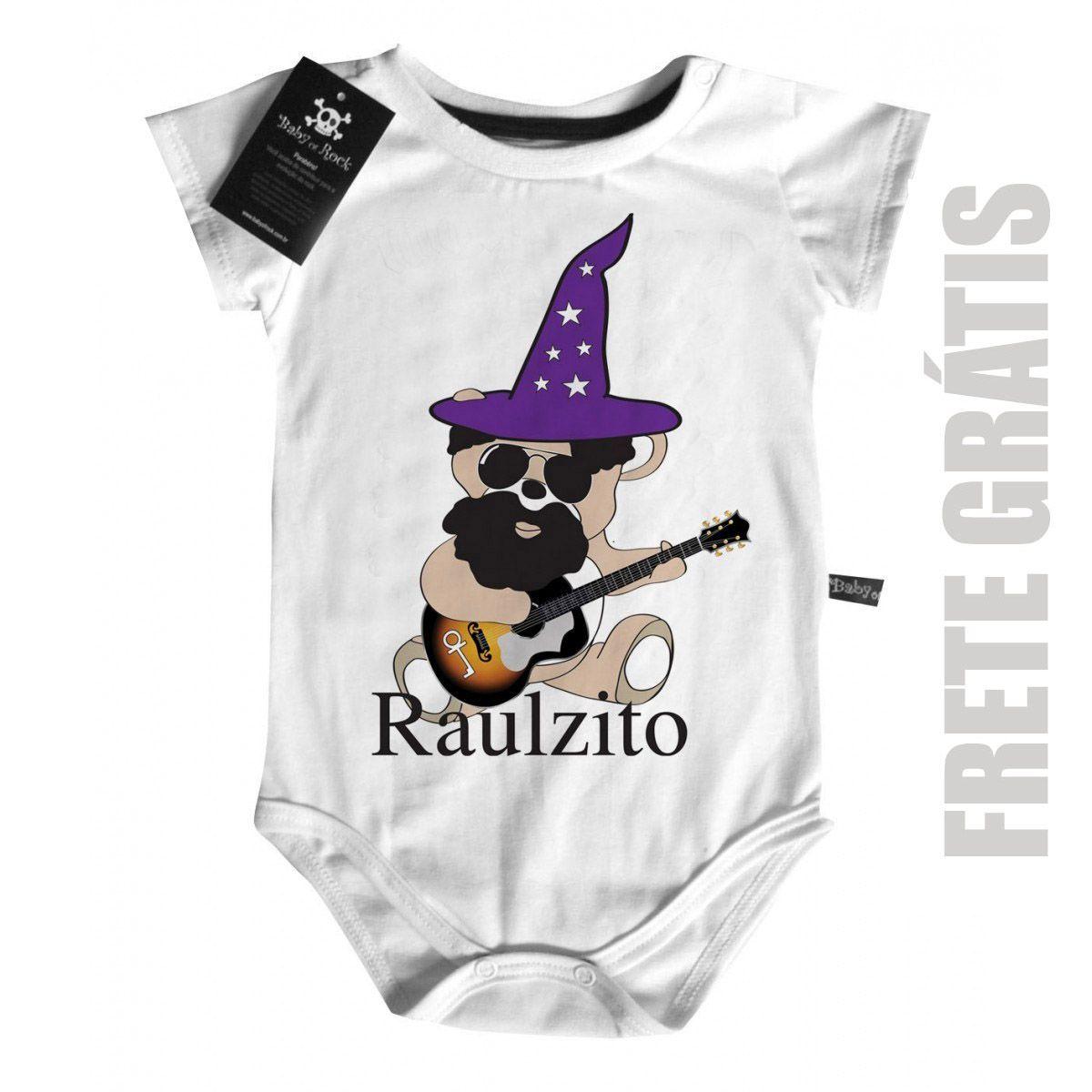 Body Bebê Raul Seixas  - Ursinho D - White  - Baby Monster S/A