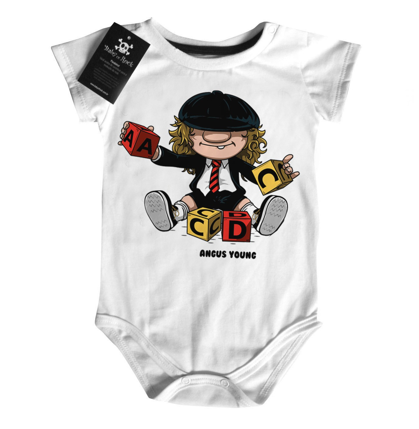 Body Bebê rock Acdc Angus  - Baby Monster S/A