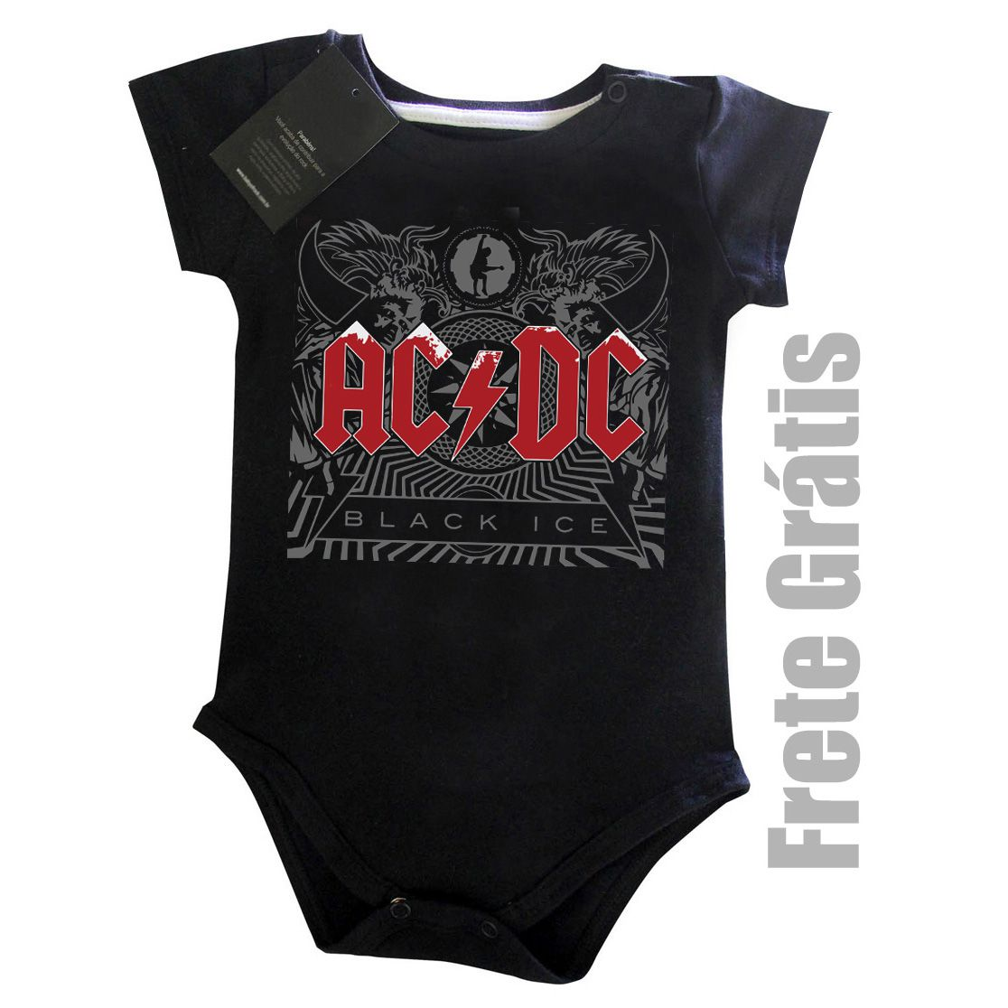 Body Bebe Rock Acdc - Black Ice   - Baby Monster S/A