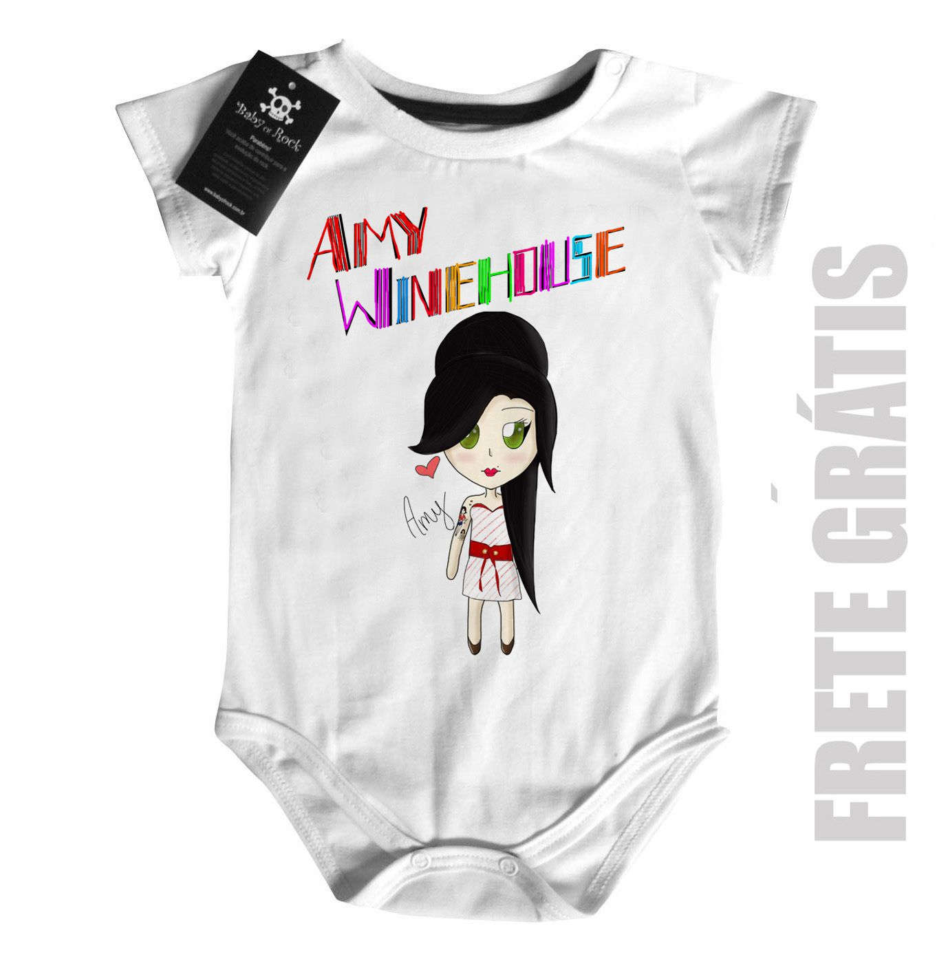 Body Bebê Rock  Amy Whinehouse Cute Color  - White  - Baby Monster - Body Bebe