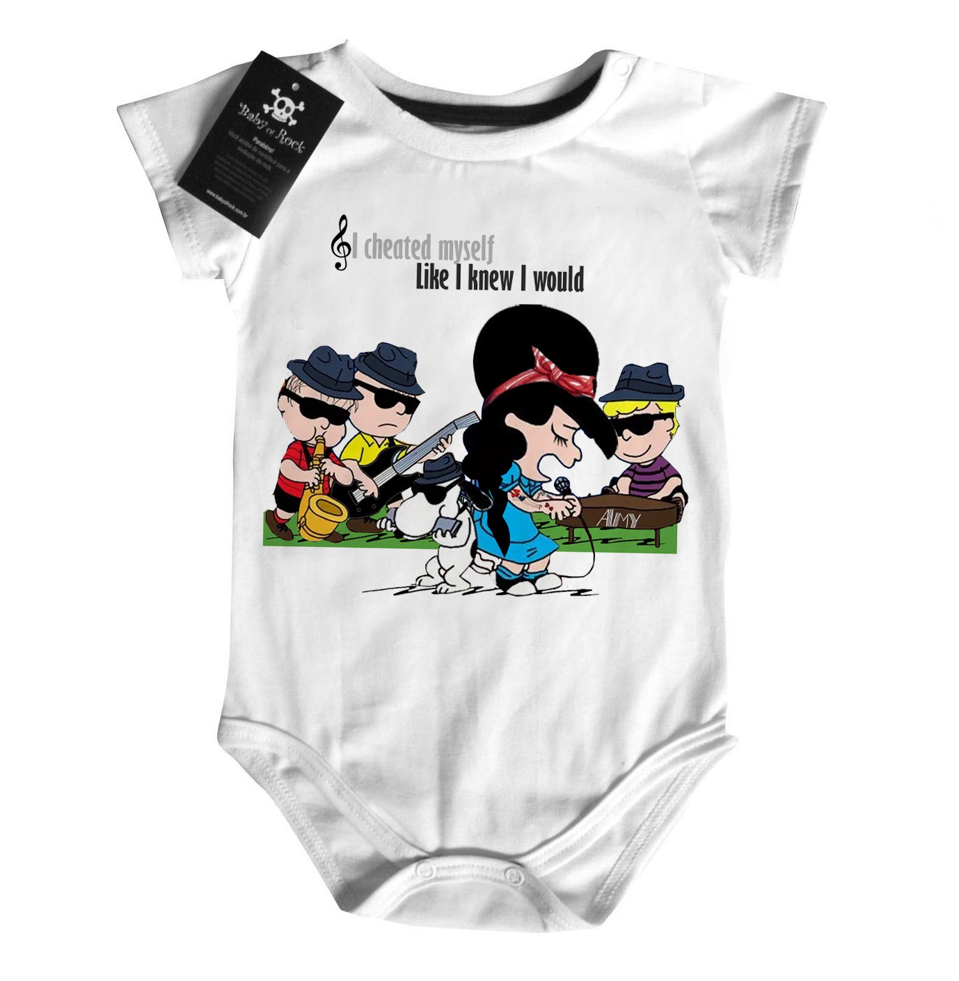 Body Bebê Rock  Amy Whinehouse  Snoopy    - Baby Monster S/A