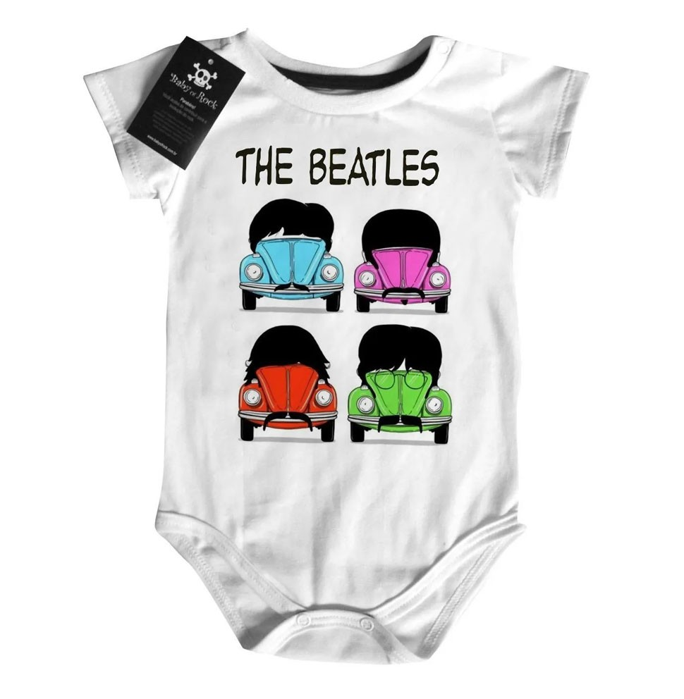 Body Bebê Rock Beatles Fusca Estampa Animada  - Baby Monster S/A