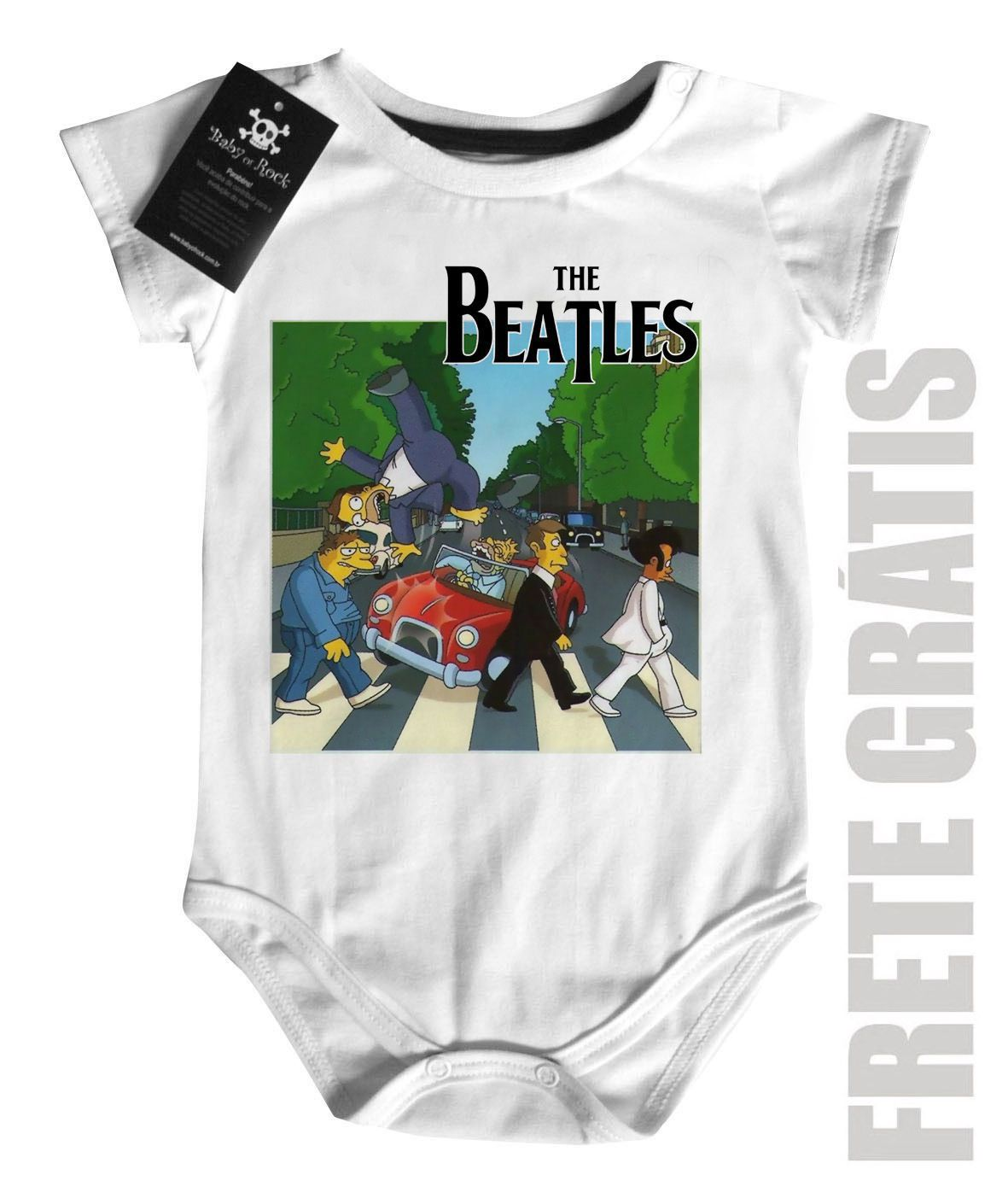 Body Bebe Rock  Infantil Beatles Homer Car - White  - Baby Monster - Body Bebe