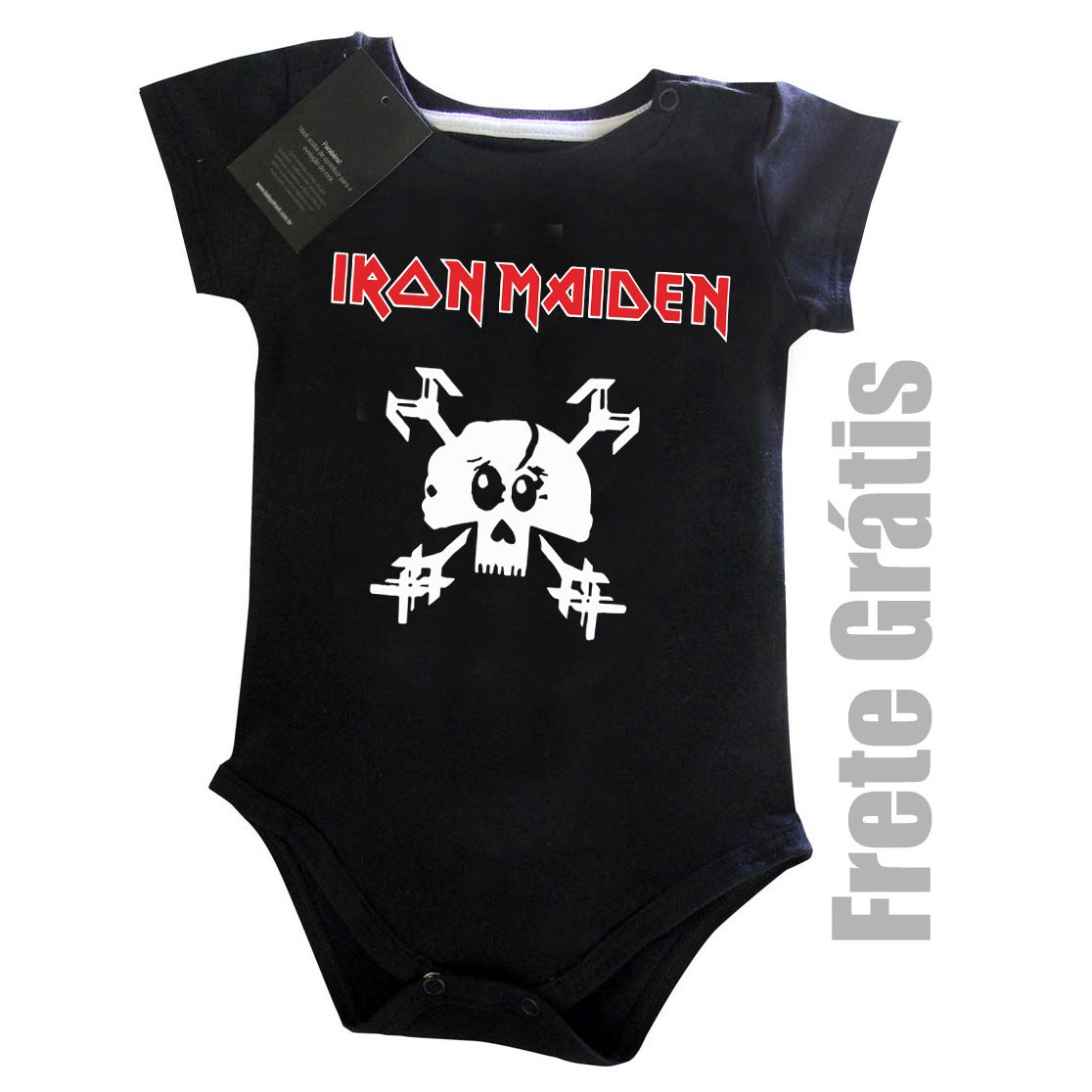 Body Bebe Rock Iron Maiden -  Skull - Black  - Baby Monster S/A