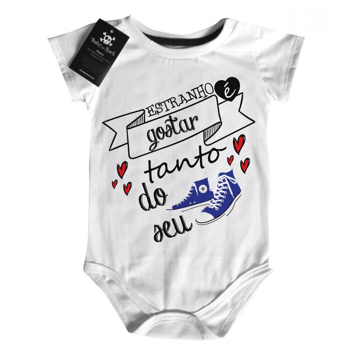 Body Bebe Rock - Meu All Star Azul D - White  - Baby Monster S/A