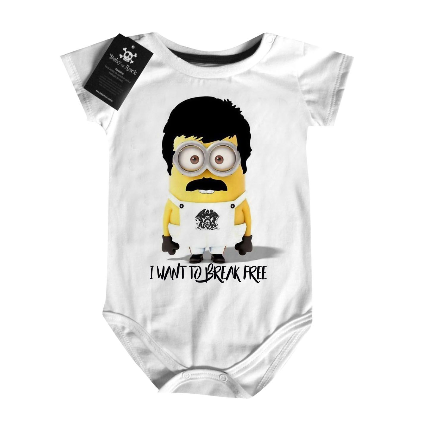 Body Bebe Rock Minions Freddy Mercury Queen  - Caricato - White  - Baby Monster S/A