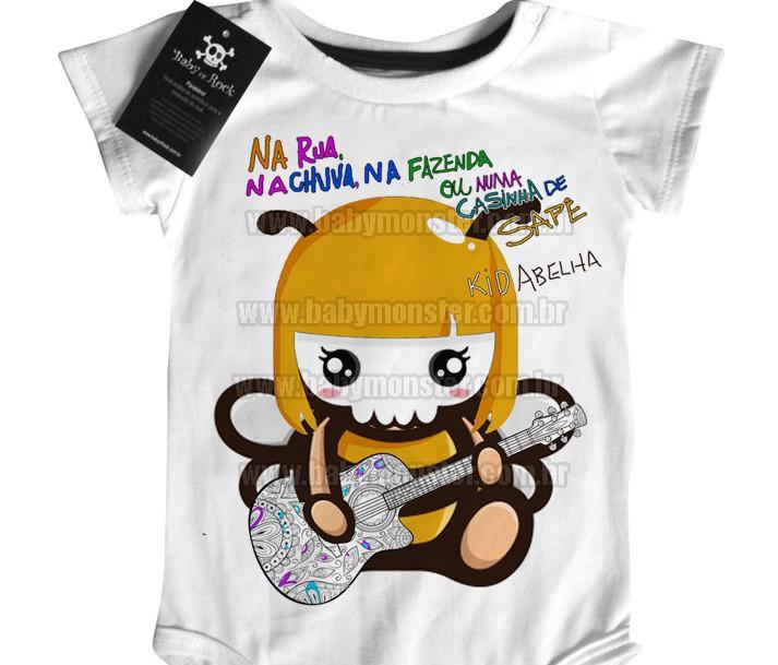Body Bebê Rock Nacional Kid Abelha  - Baby Monster S/A