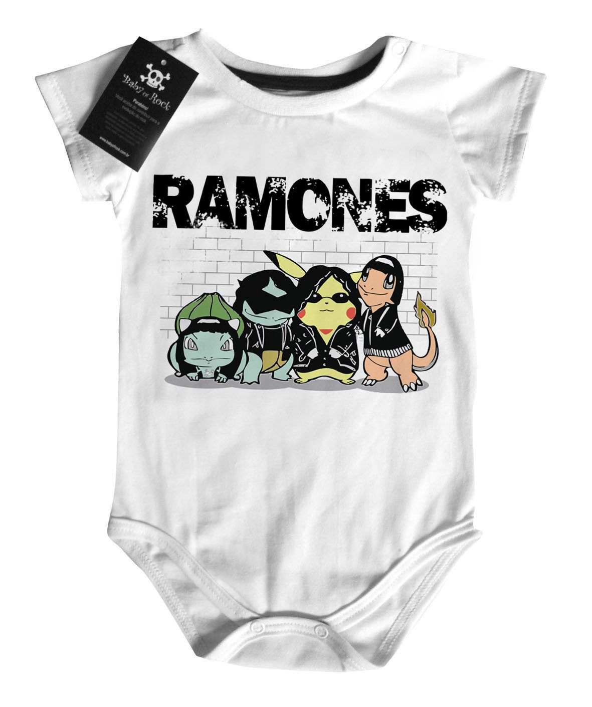 Body Bebe Rock Nerd Geek Ramones Pokemon - White  - Baby Monster S/A