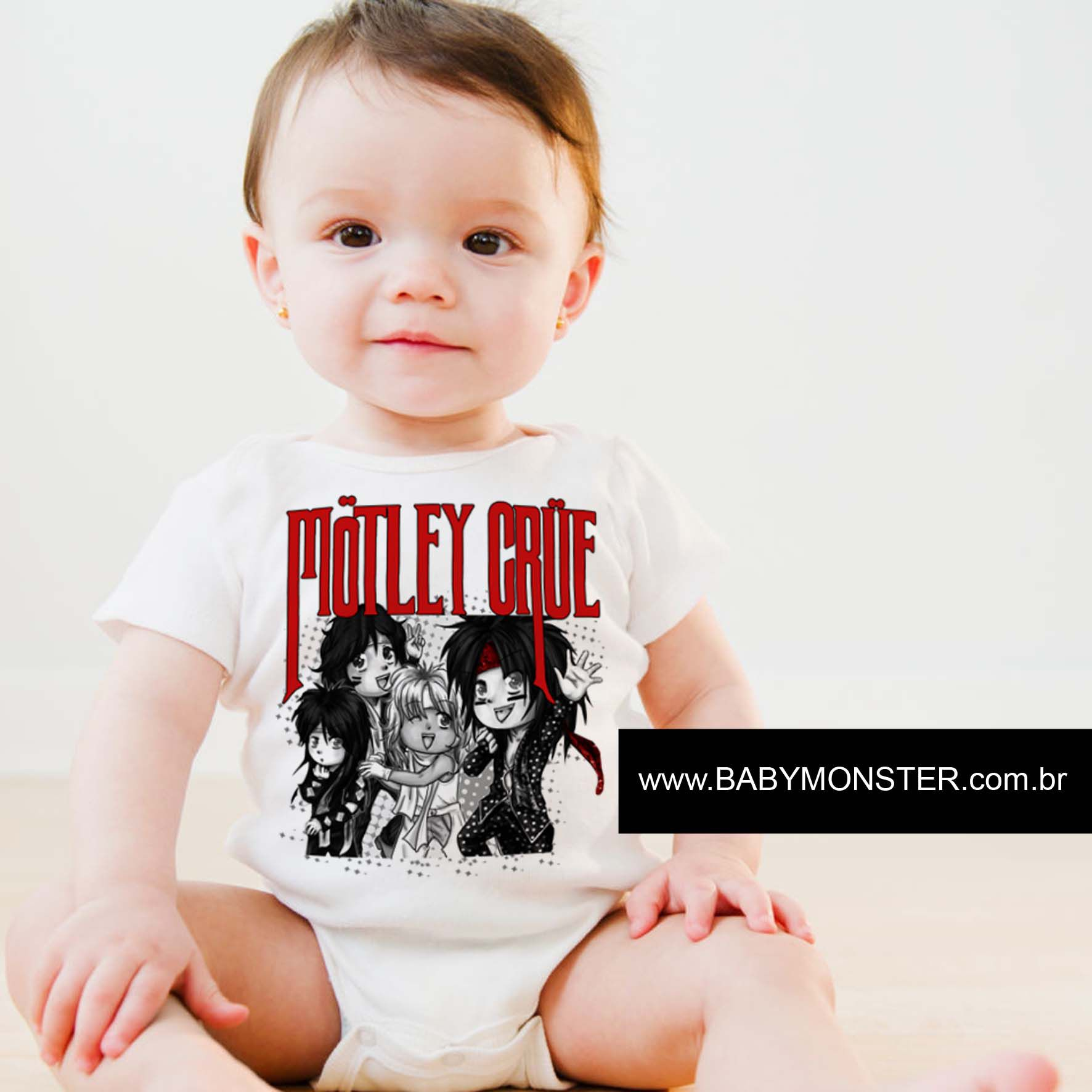 Body Bebe Rock ou Camiseta de  Rock  Motley Crue - White  - Baby Monster - Body Bebe