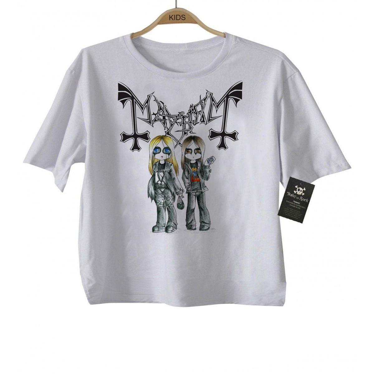 Body Bebe Rock ou Camiseta Mayhem Black Metal  - Baby Monster S/A