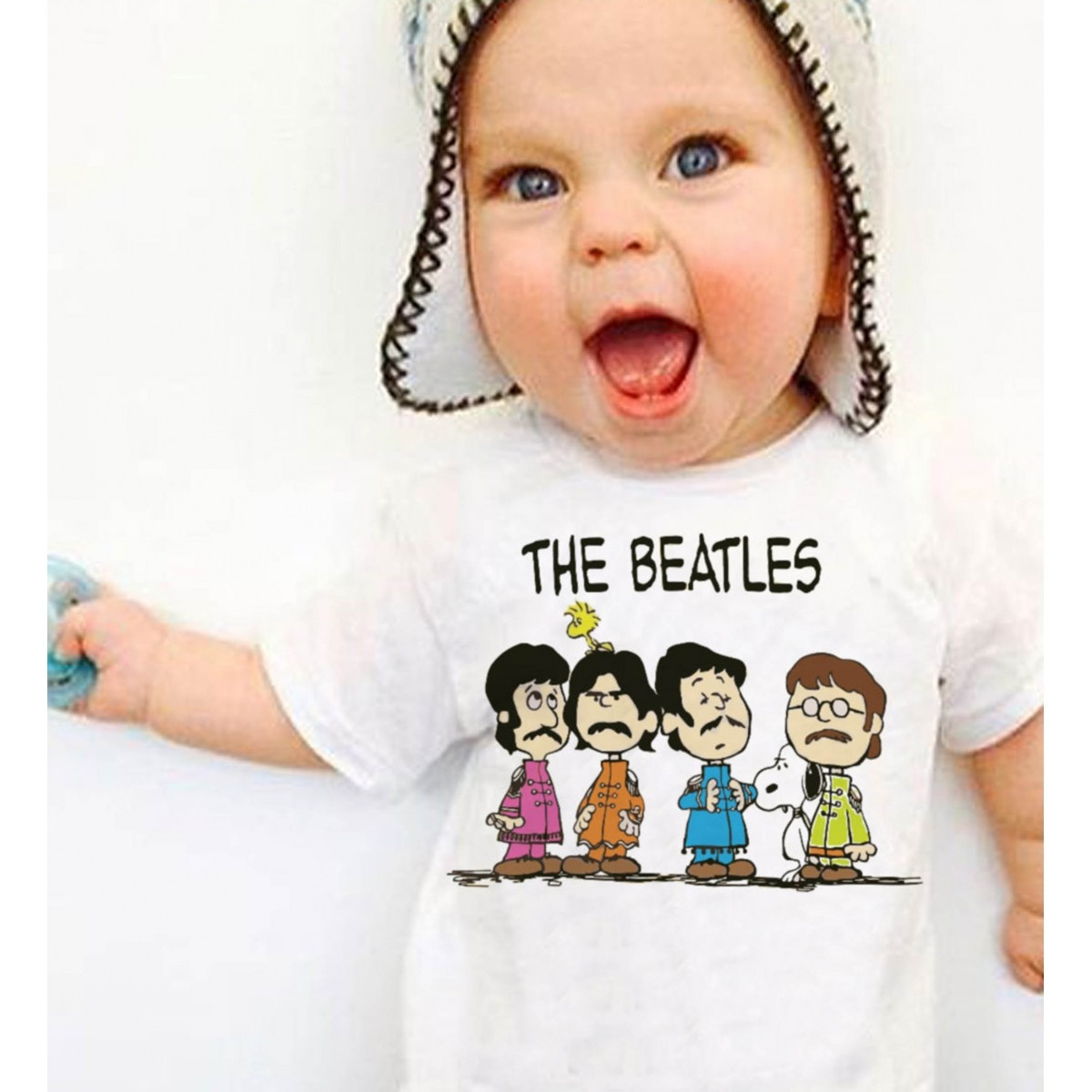 Body Bebê Rock The Beatles - Snoopy - White  - Baby Monster - Body Bebe