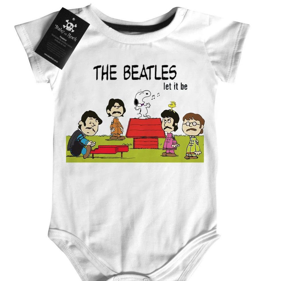 Body Bebê Rock The Beatles - Snoopy  Let it Be  - White  - Baby Monster S/A