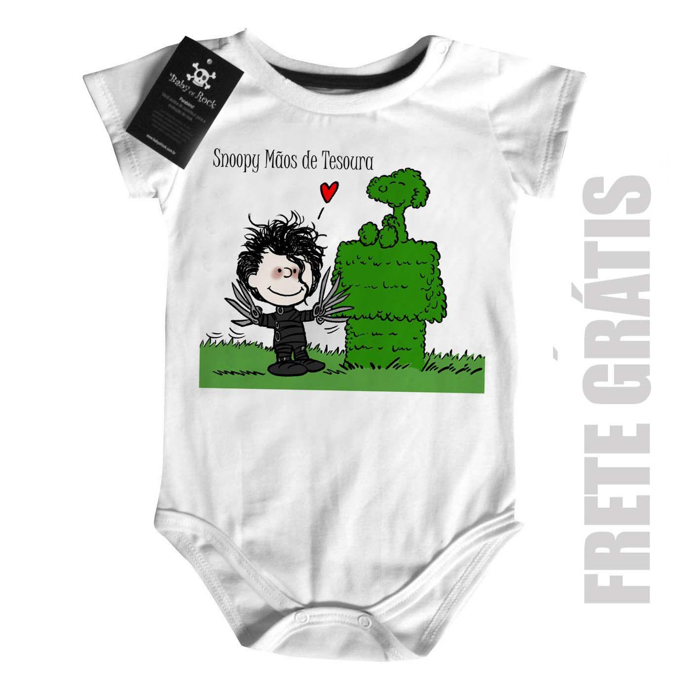 Body Bebê Snoopy Mãos de Tesoura  - Baby Monster S/A