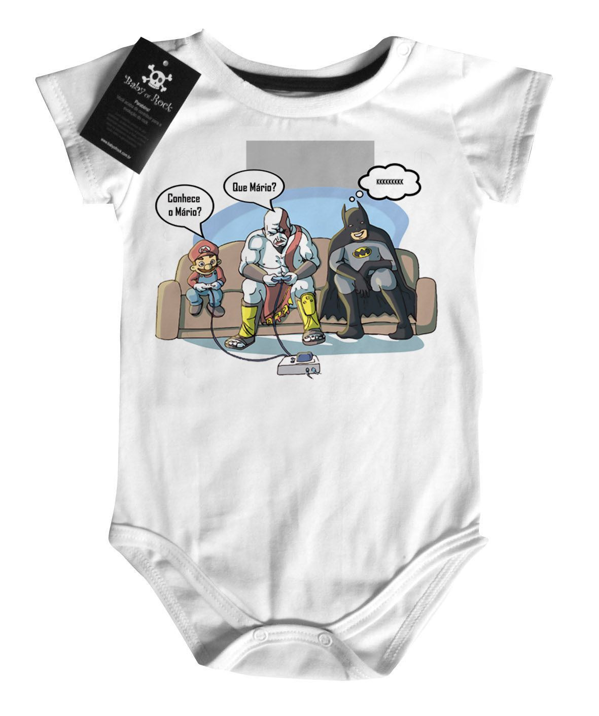 Body Bebê Super Gamer-  White - Mario / Batman  - Baby Monster - Body Bebe
