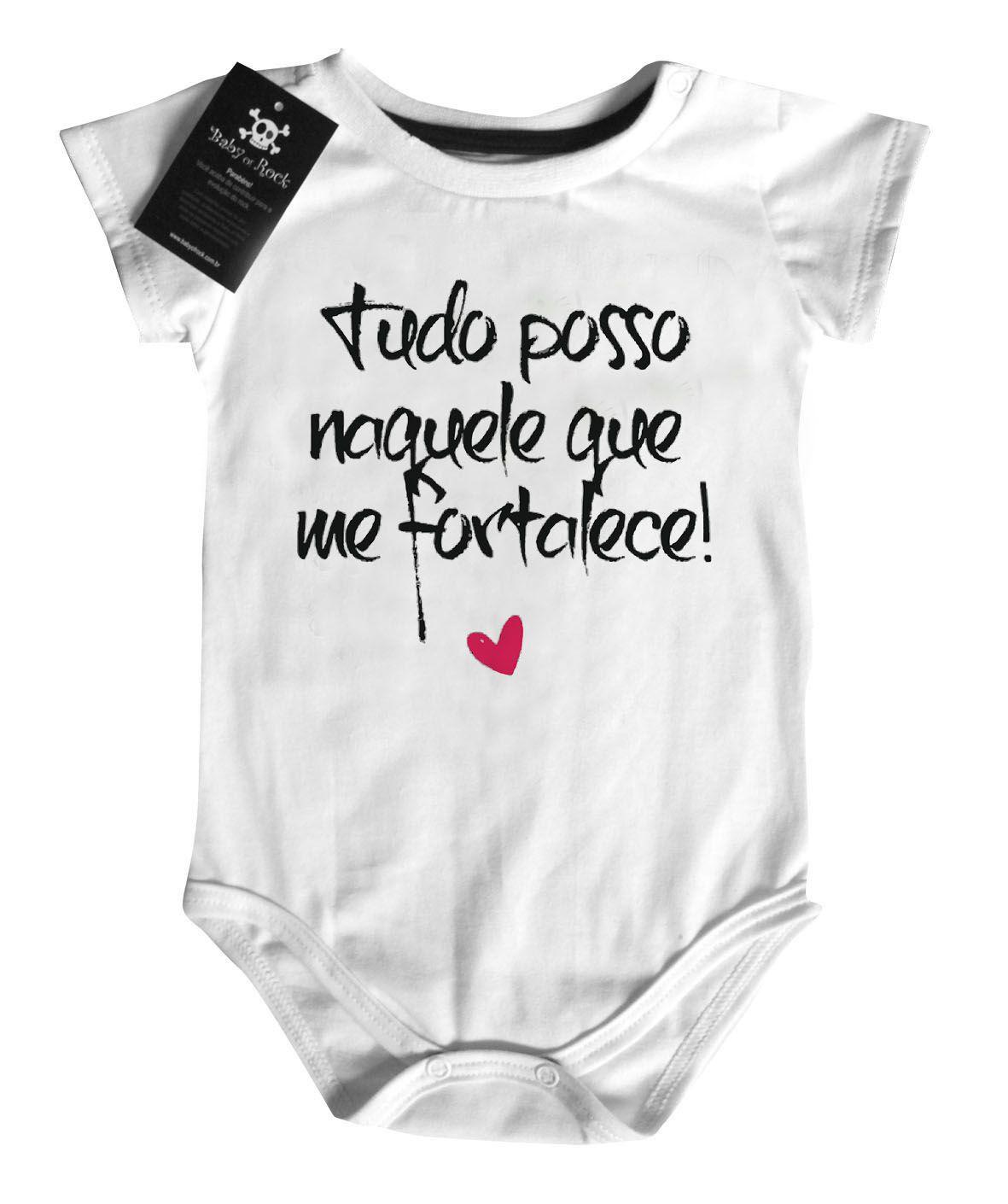 Body  Cristão Tudo Posso - white  - Baby Monster S/A