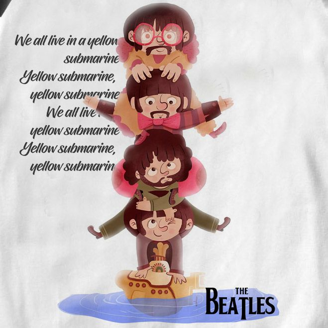 Body  de Rock Bebê Beatles Submarino - White   - Baby Monster - Body Bebe