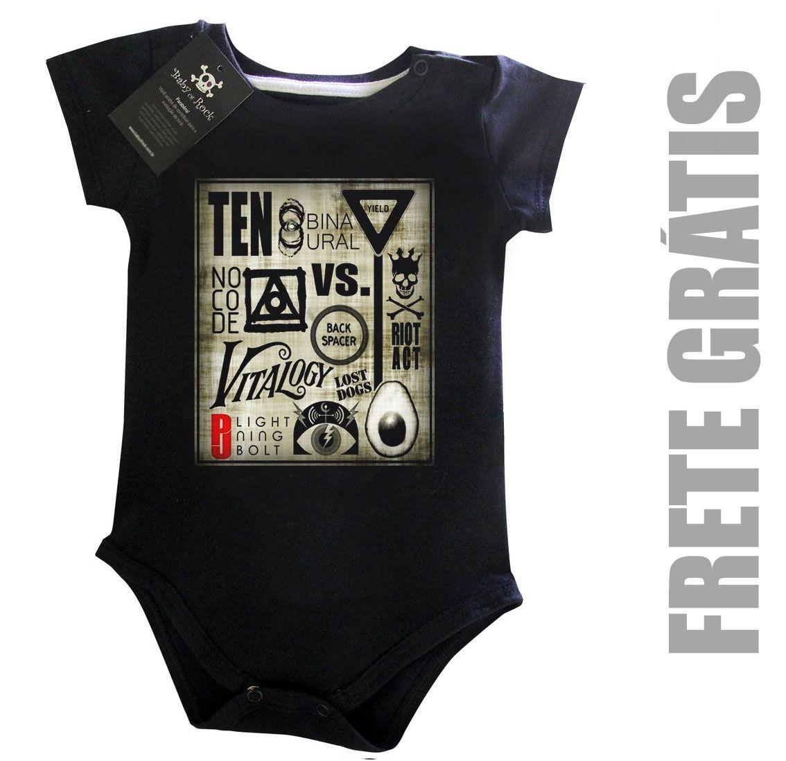 Body de Rock Bebê - Pearl Jam - Black  - Baby Monster S/A