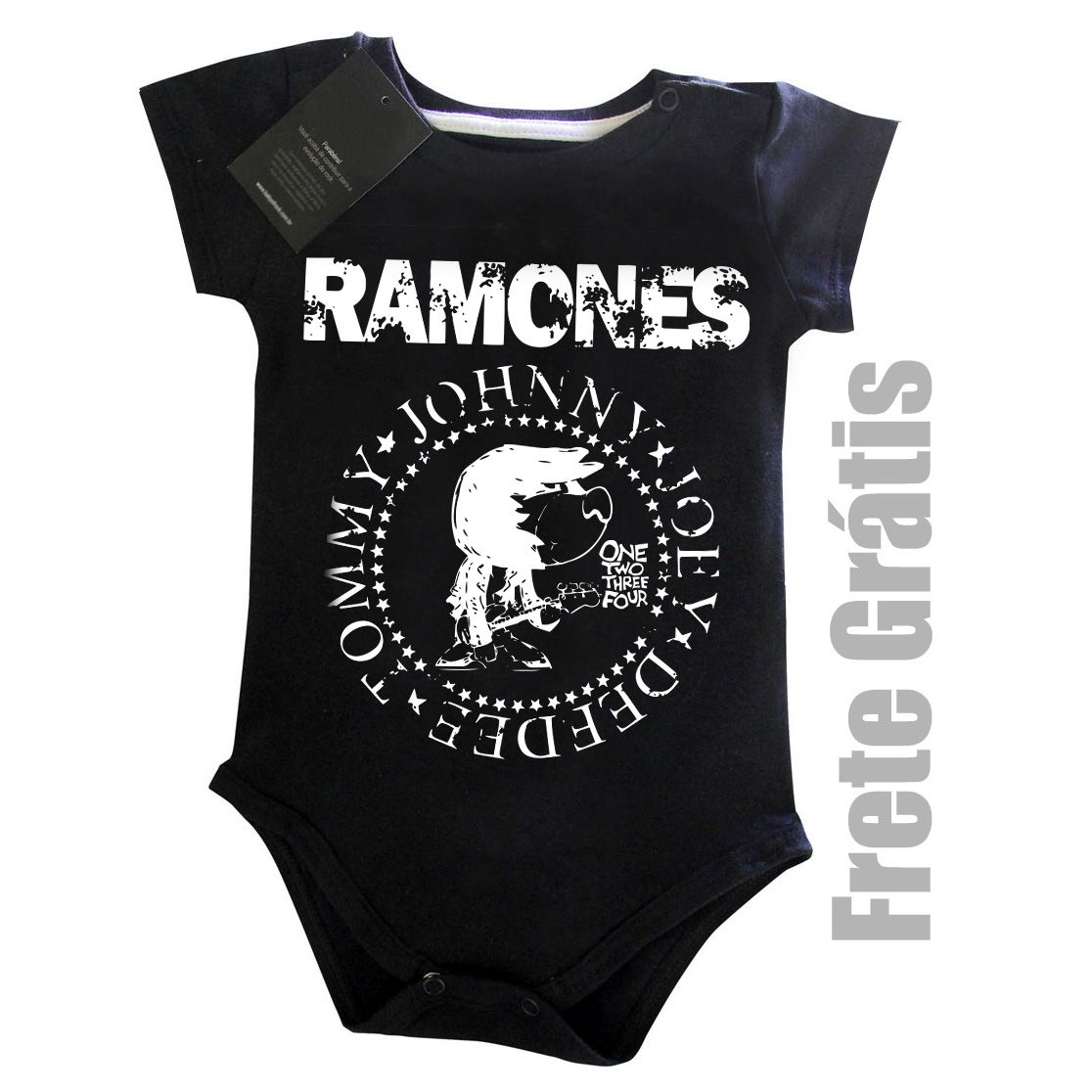 Body de Rock para Bebê do RAMONES - Black  - Baby Monster S/A