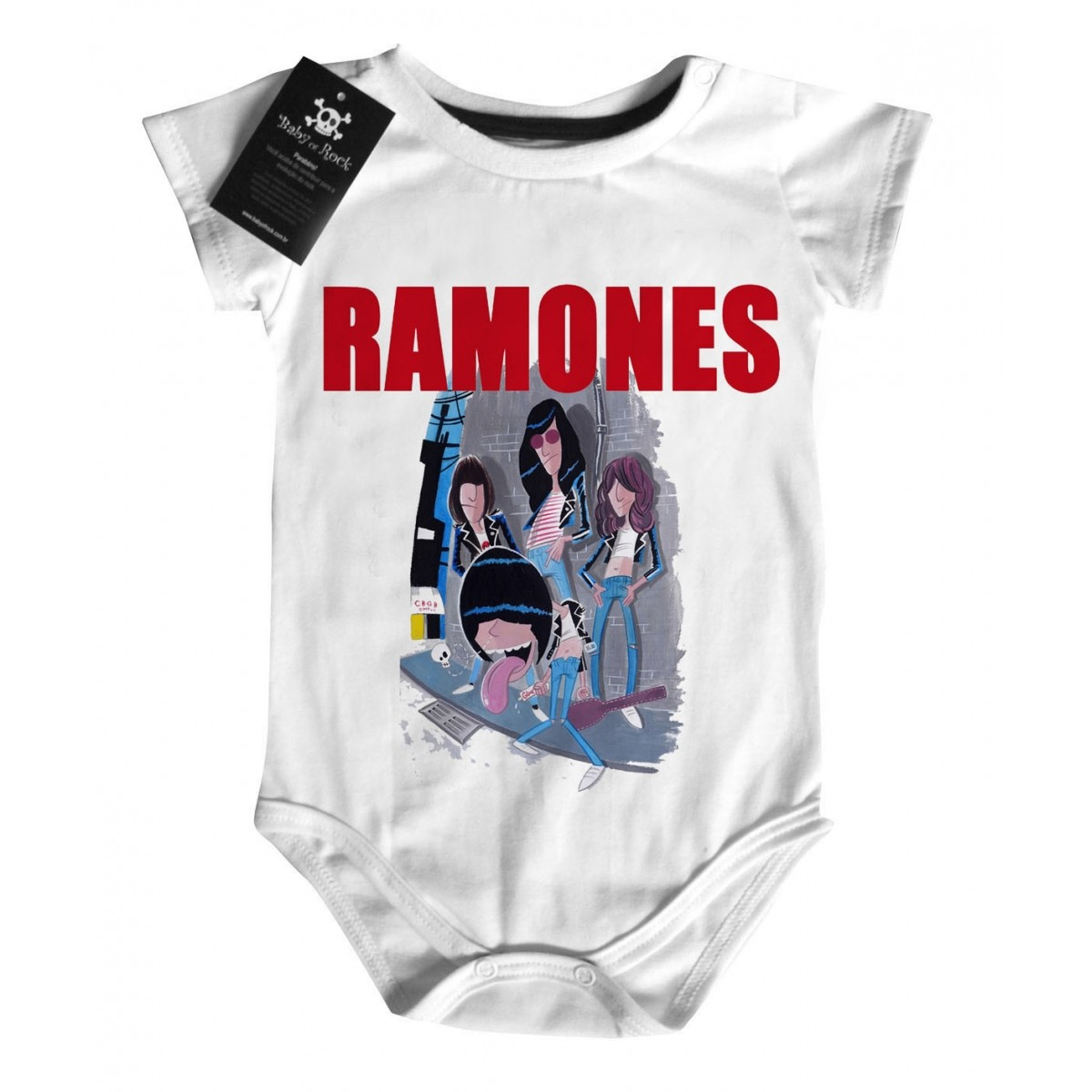 Body de Rock para Bebê do RAMONES - Caricature  White  - Baby Monster S/A