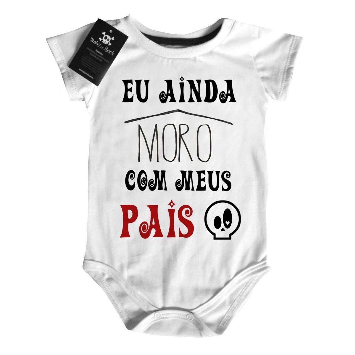 Body Divertido Bebê - Ainda Moro com meus pais - White  - Baby Monster S/A