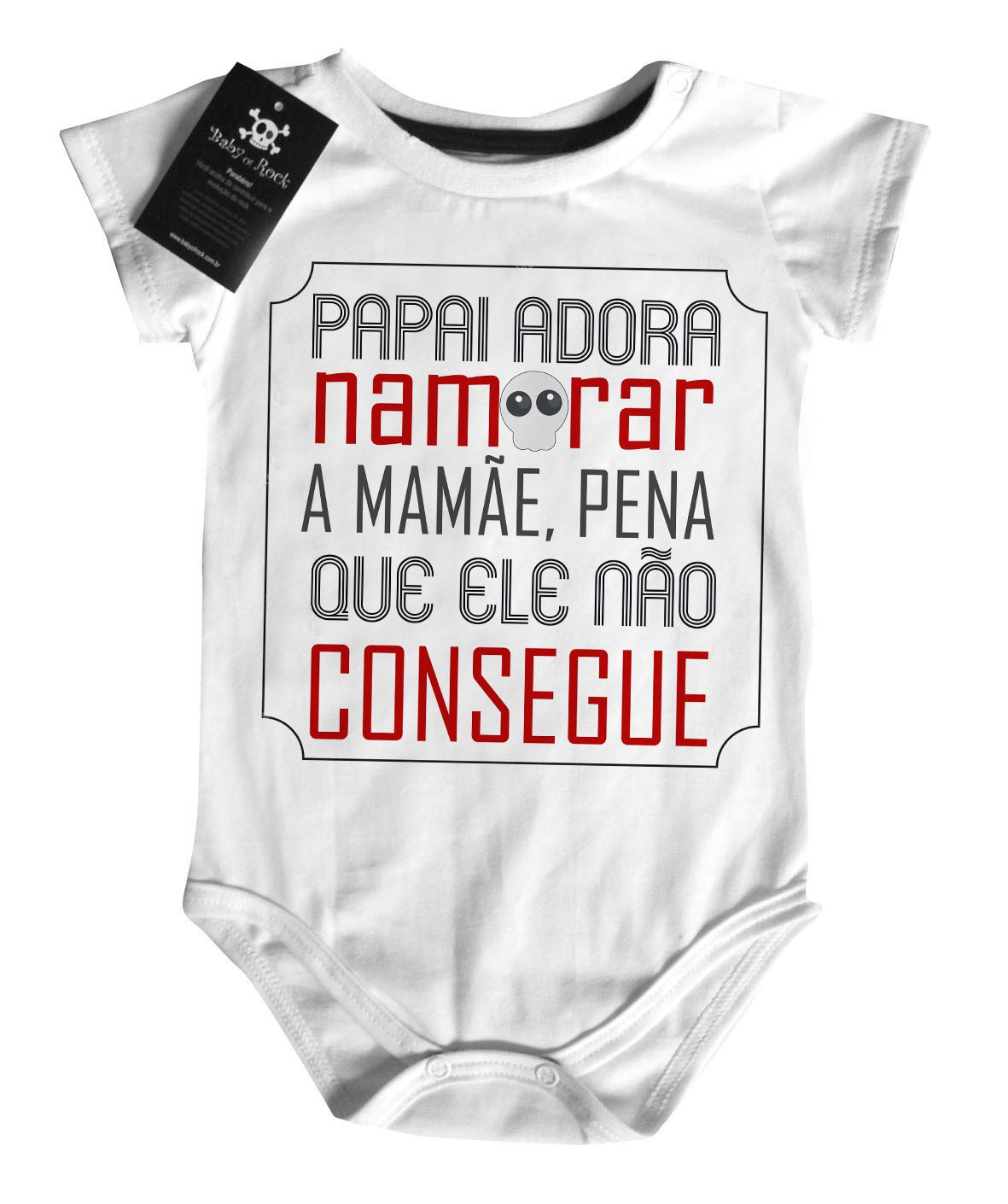 Body Divertido Bebê - Papai adora namorar a mamae - White  - Baby Monster - Body Bebe