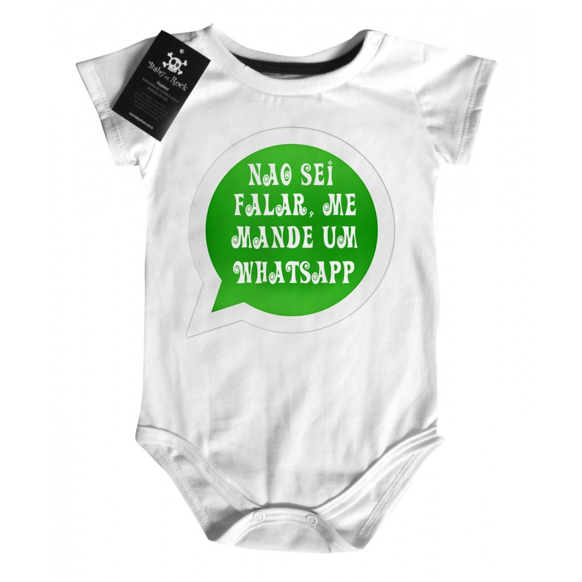 Body Divertido  Bebê - Whatsapp - White  - Baby Monster S/A