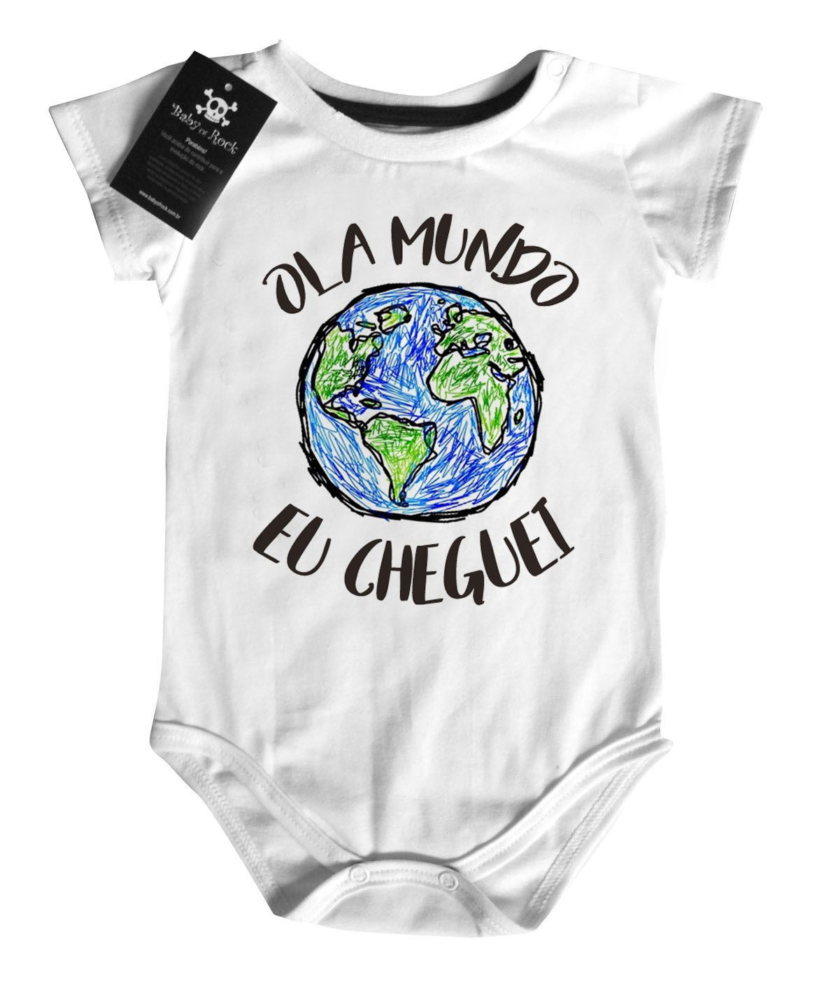 Body  divertido  Ola Mundo - White  - Baby Monster S/A