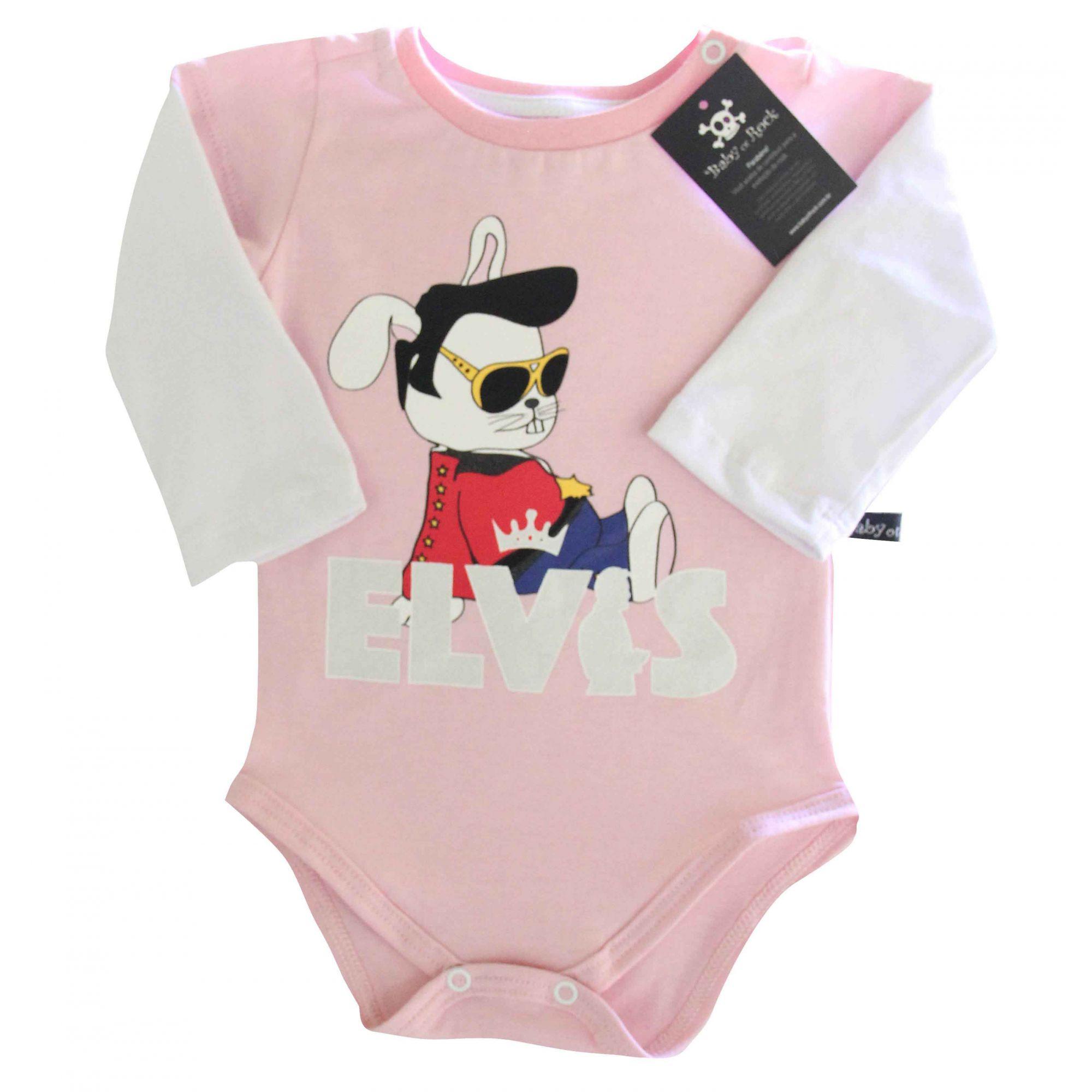 Body  Elvis Rosa -  Manga longa  - Baby Monster S/A
