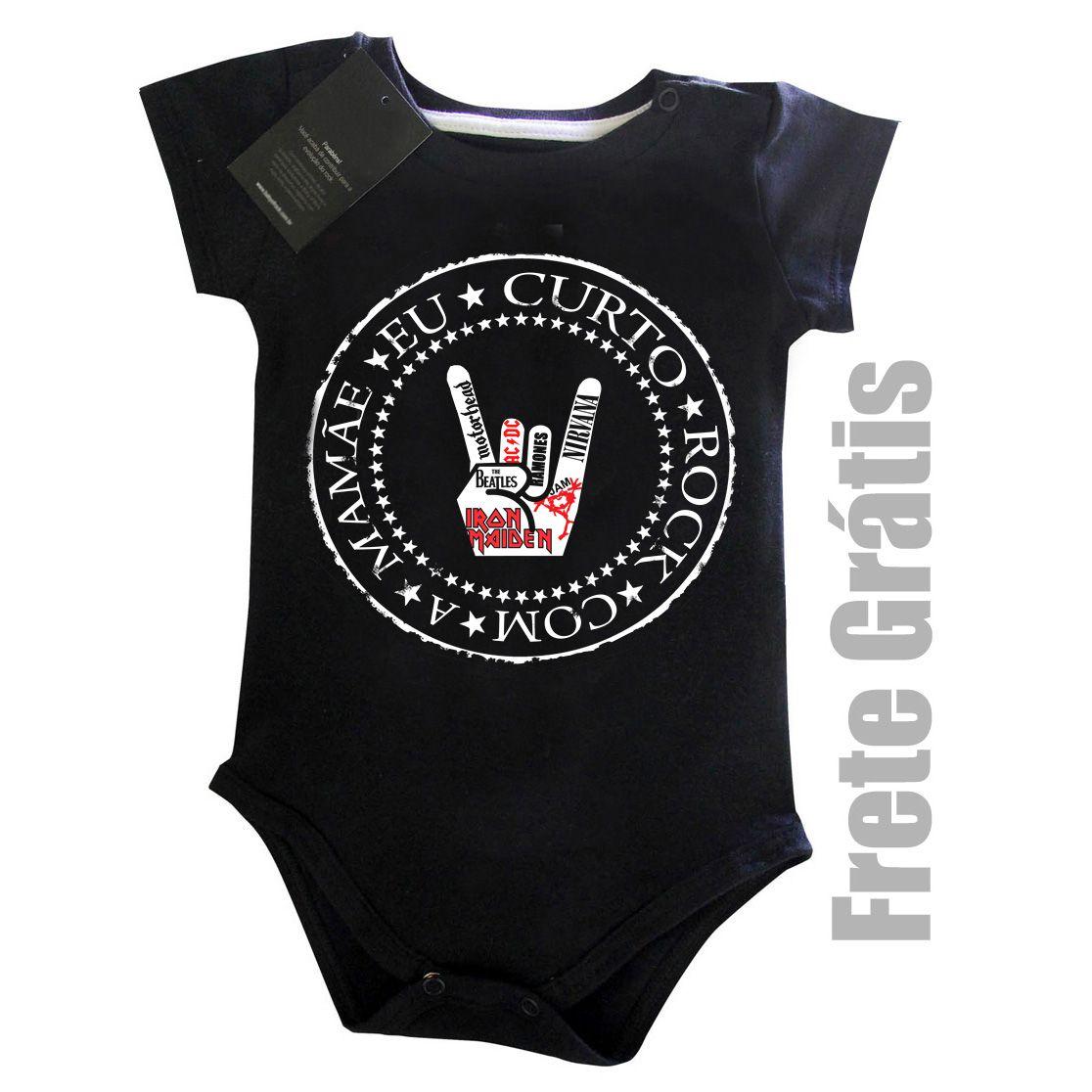 Body Eu Curto Rock com a Mamãe - Black  - Baby Monster S/A