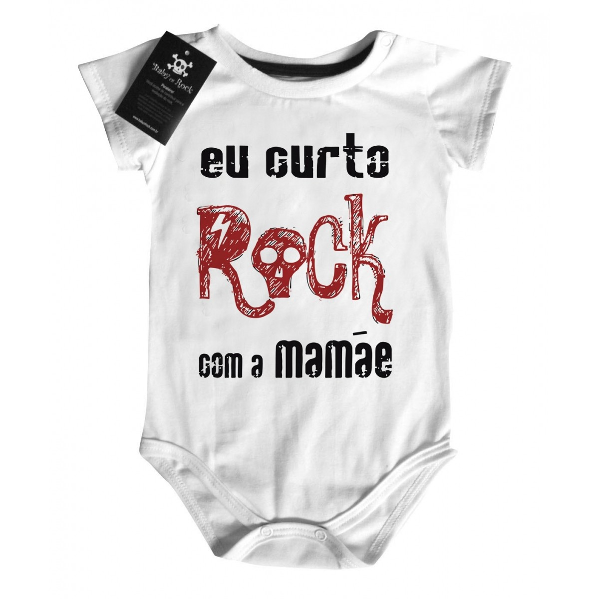 Body Eu Curto Rock com a Mamãe - White  - Baby Monster S/A