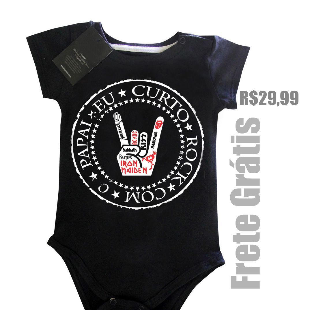 Body Eu Curto Rock com o Papai - Black  - Baby Monster S/A