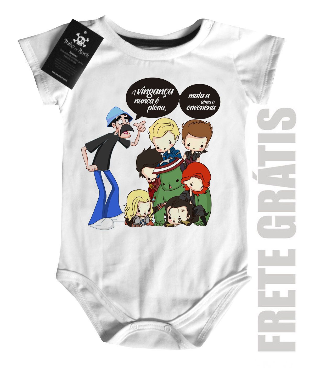 Body  Nerd / Geek  Seu Madruga e os Vingadores- White  - Baby Monster S/A