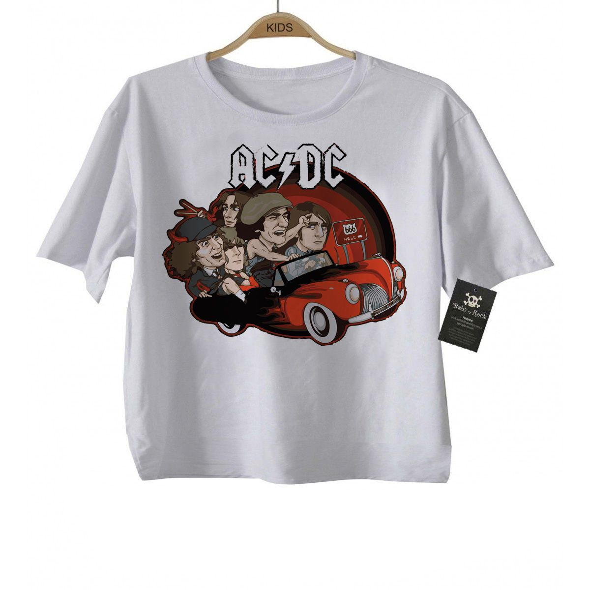 Body ou Camiseta de Rock Baby  ACDC Car  - White  - Baby Monster - Body Bebe