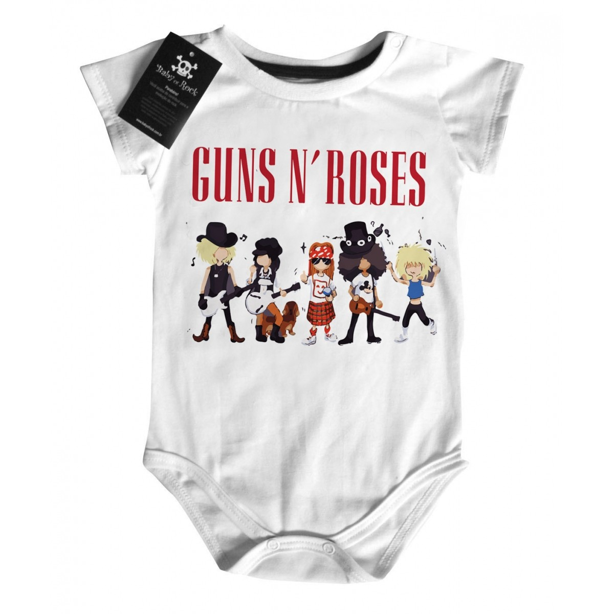 Body Rock Baby Guns n Roses  Caricature  - White  - Baby Monster S/A