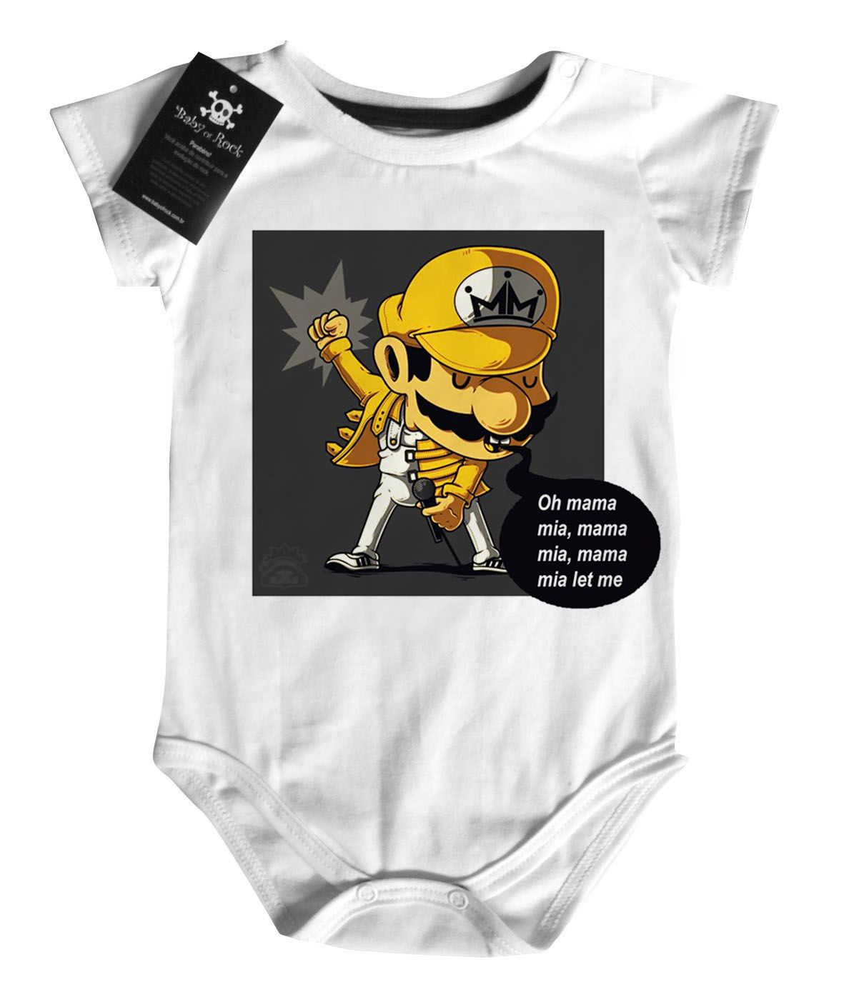 Body Rock Baby Mário Freddy Mercury Queen  - Caricato - White  - Baby Monster S/A