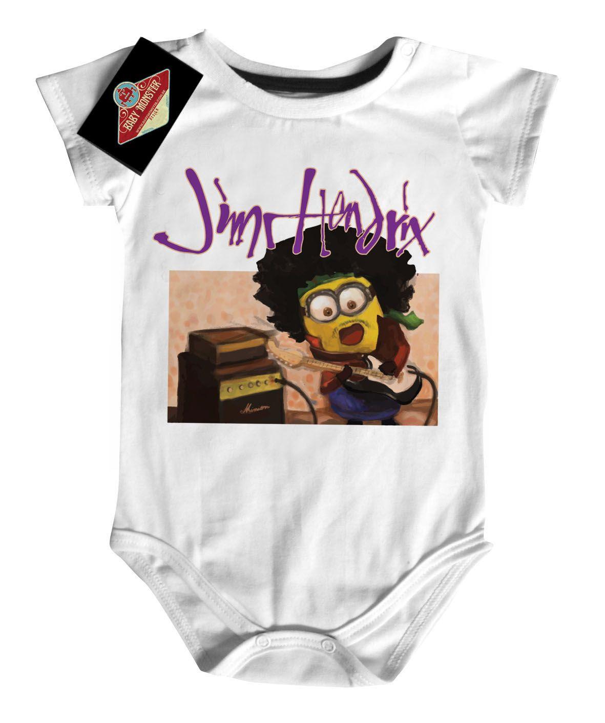Body Rock Bebê Jimi Hendrix - Minions - White  - Baby Monster - Body Bebe