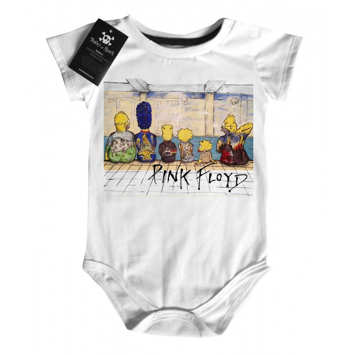 Body Rock  Bebê Pink Floyd Simpsons - White  - Baby Monster S/A