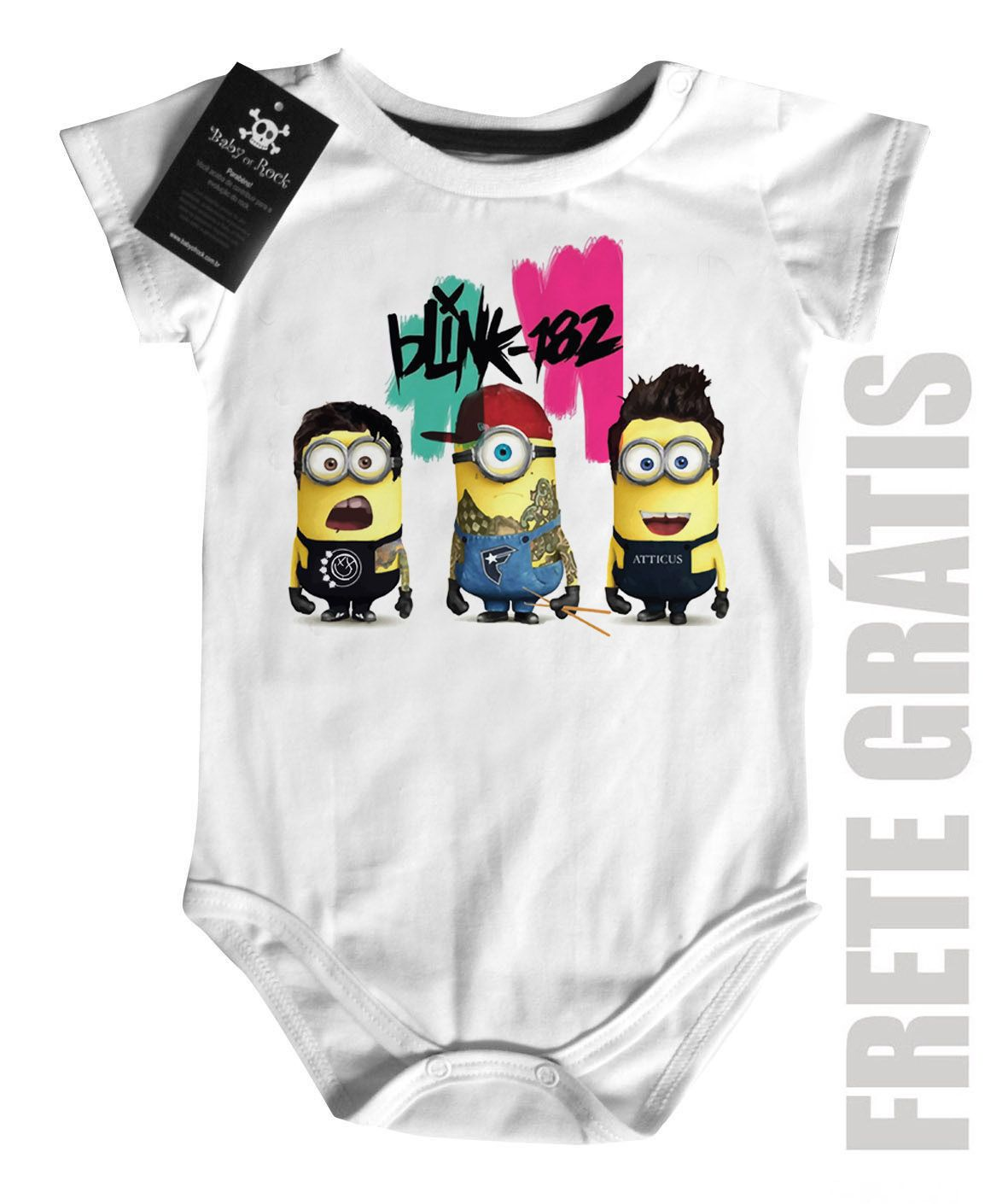 Body  Rock infantil Blink 182 Minions - White  - Baby Monster S/A