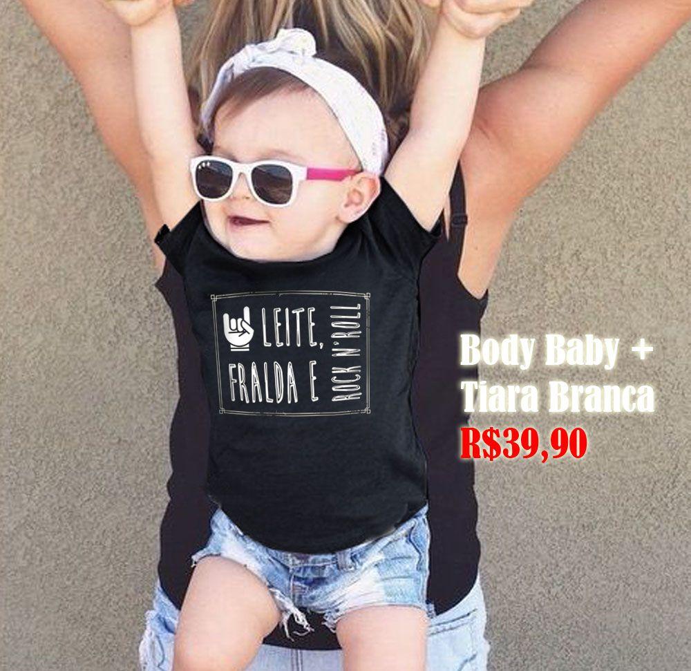 Body Rock - Leite Fraldas e Rock n Roll + Tiara Laço Branca    - Baby Monster S/A