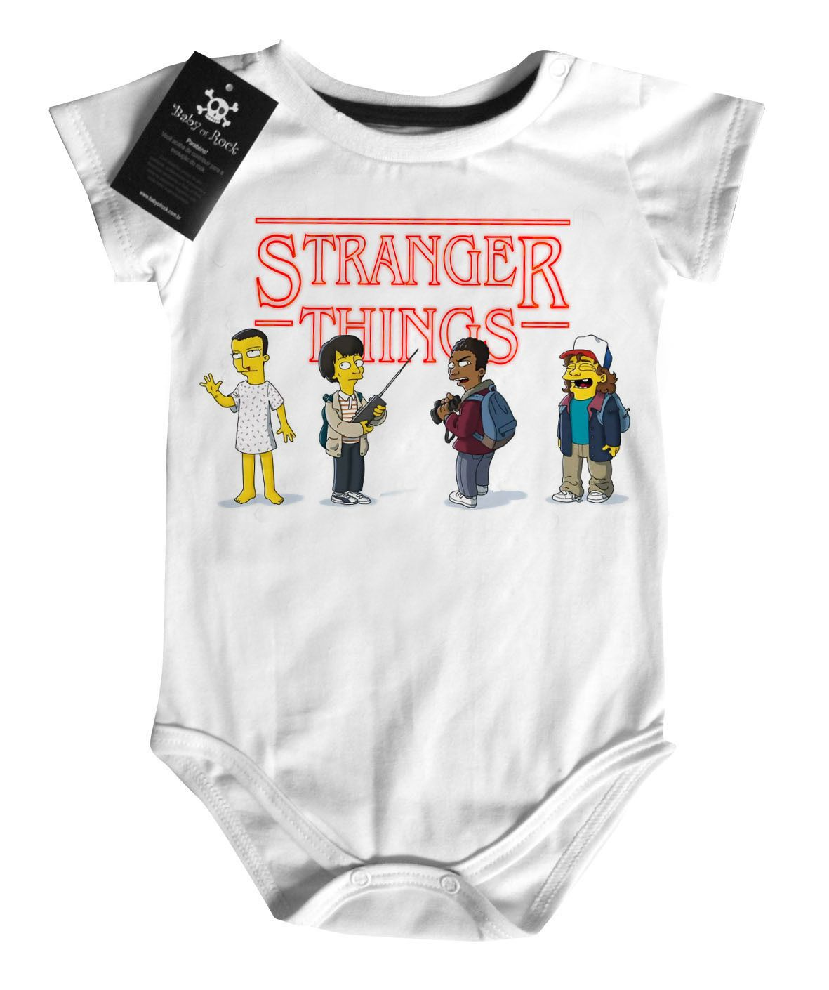 Body Series Tv  Stranger Things Simpsons -  White  - Baby Monster - Body Bebe