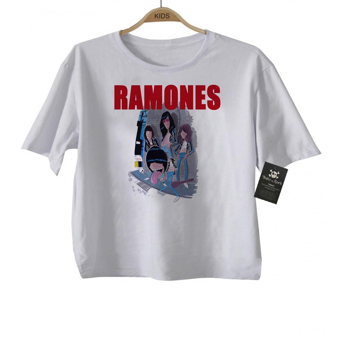Camiseta Baby de Rock Infantil - Ramones Caricato- White  - Baby Monster S/A