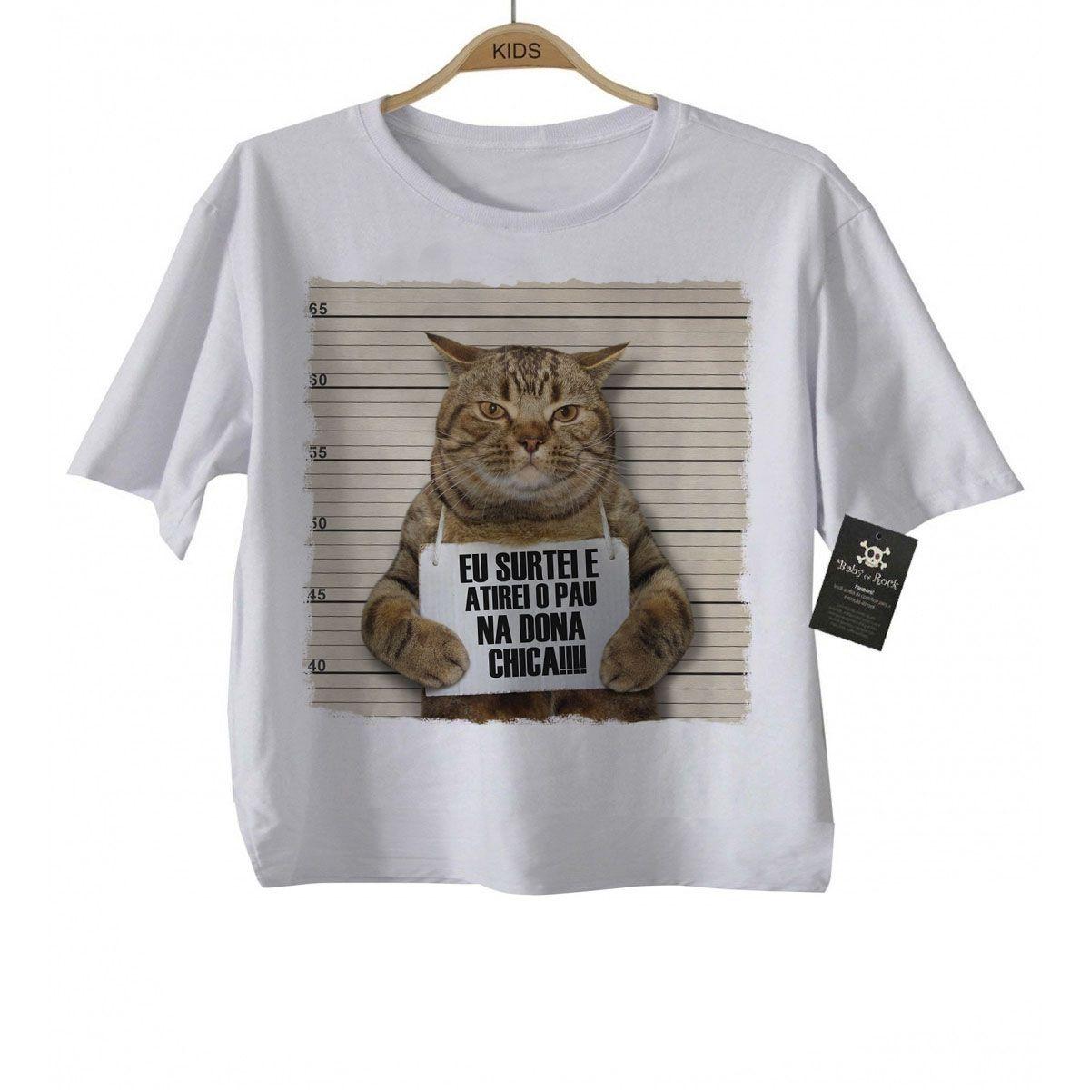 Camiseta  Bad Cat  - Atirei o Pau na dona Chica - White  - Baby Monster S/A