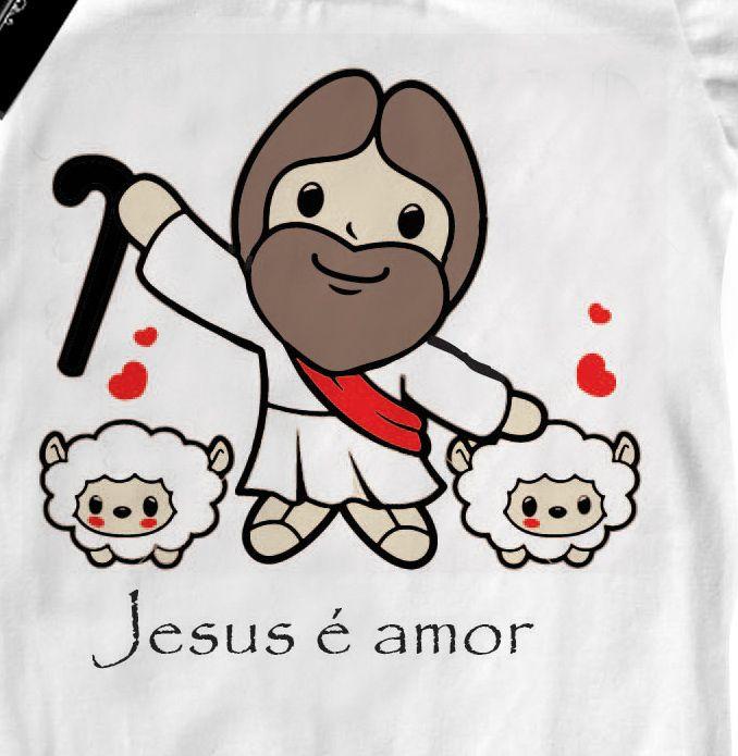 Camiseta  Bebe Cristã Jesus é amor - White  - Baby Monster S/A