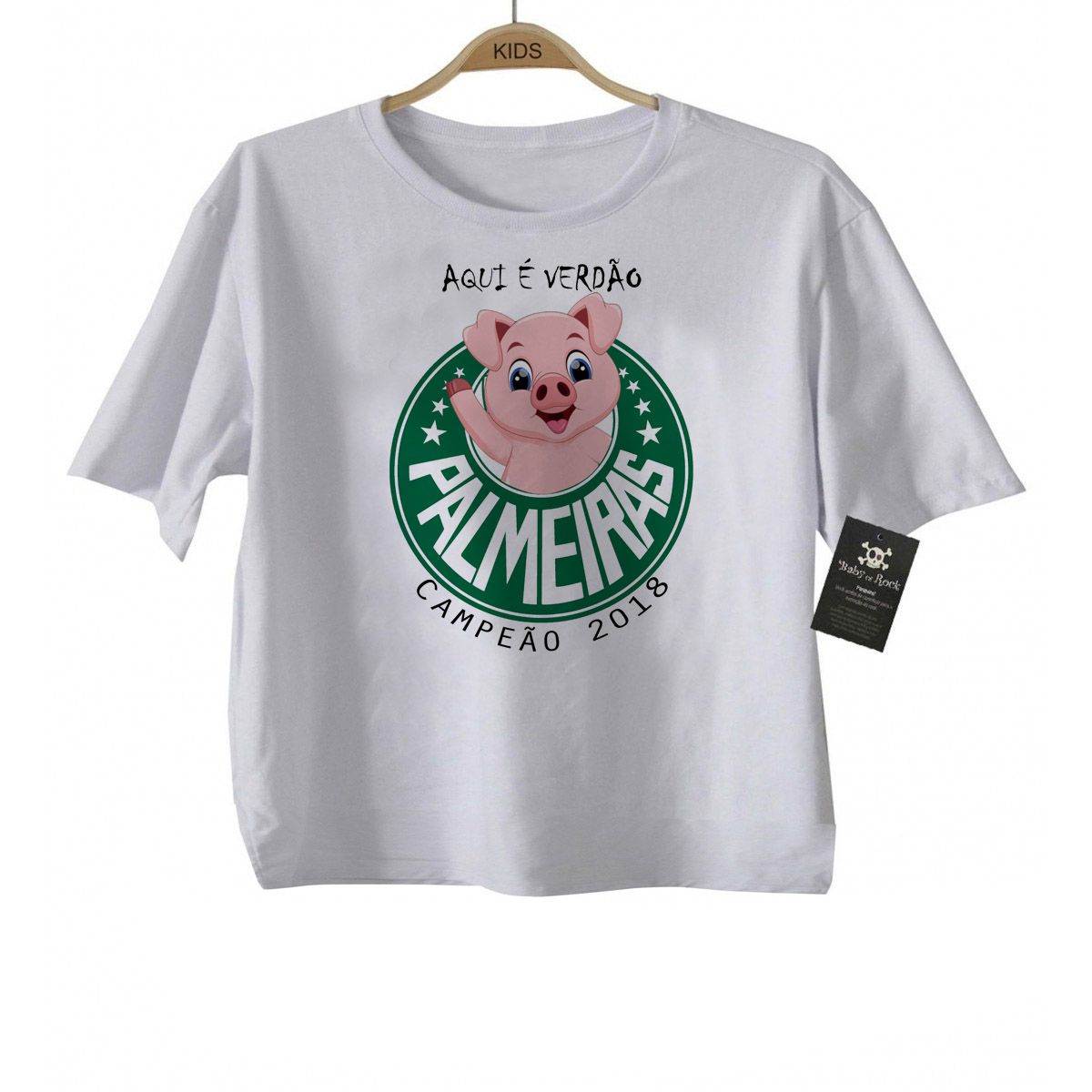 Camiseta Bebe  -  Palmeiras Campeao  - White  - Baby Monster - Body Bebe