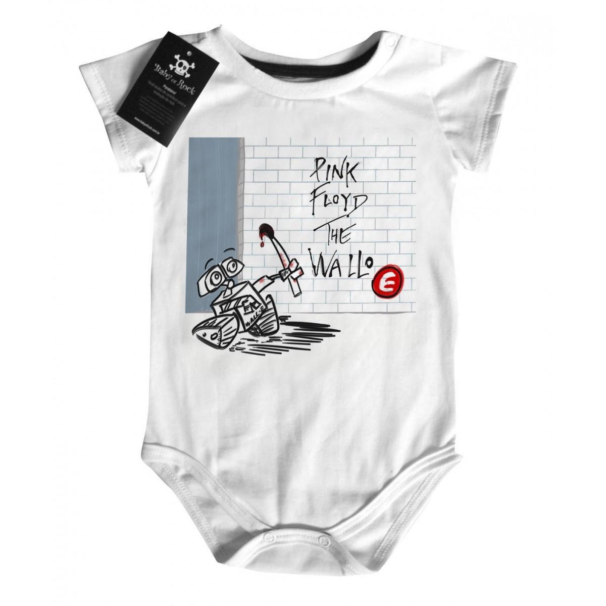 Camiseta  Bebê Rock - The Wall-e Floyd - White  - Baby Monster - Body Bebe