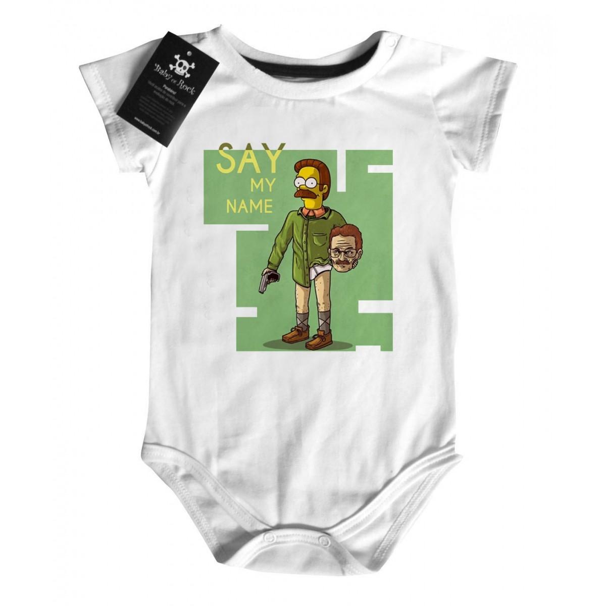 Camiseta Bebê Say my Name -  Simpsons - White  - Baby Monster - Body Bebe