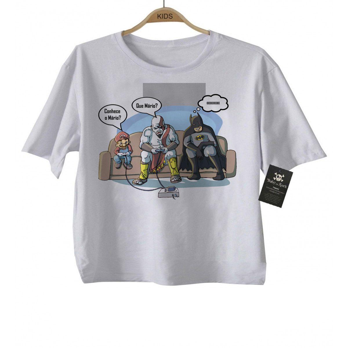 Camiseta  Bebê Super Gamer-  White - Mario / Batman  - Baby Monster S/A